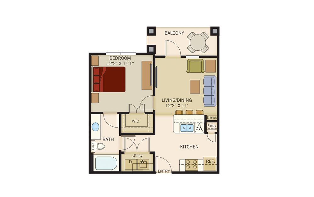 A1 - 1 bedroom floorplan layout with 1 bath and 591 square feet.