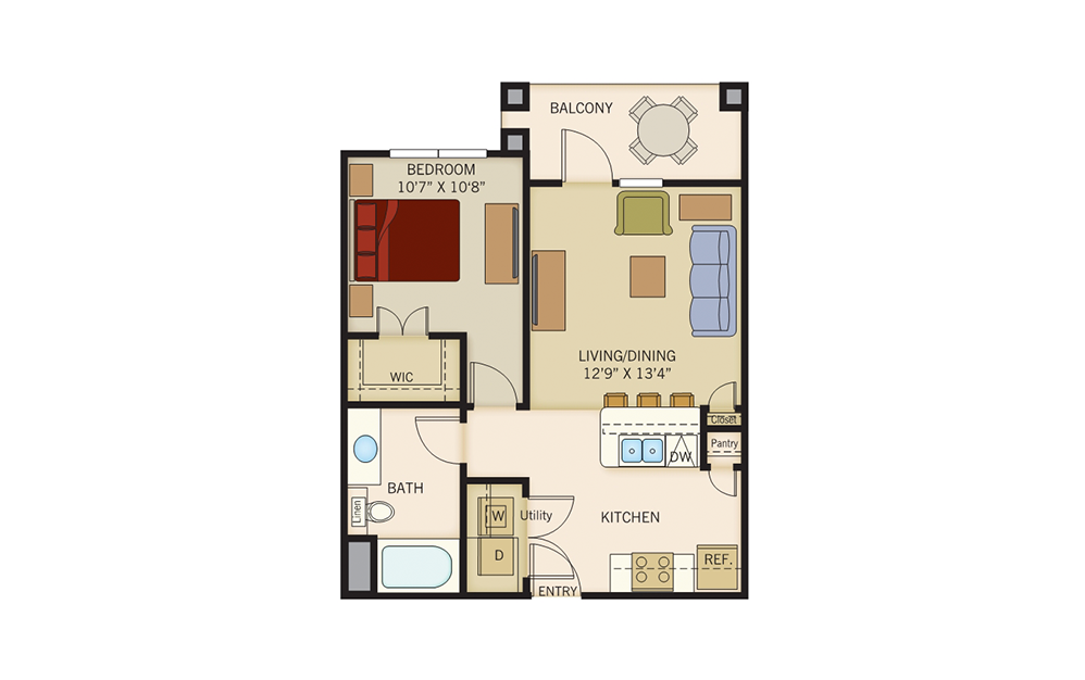 A2 - 1 bedroom floorplan layout with 1 bath and 638 to 643 square feet.