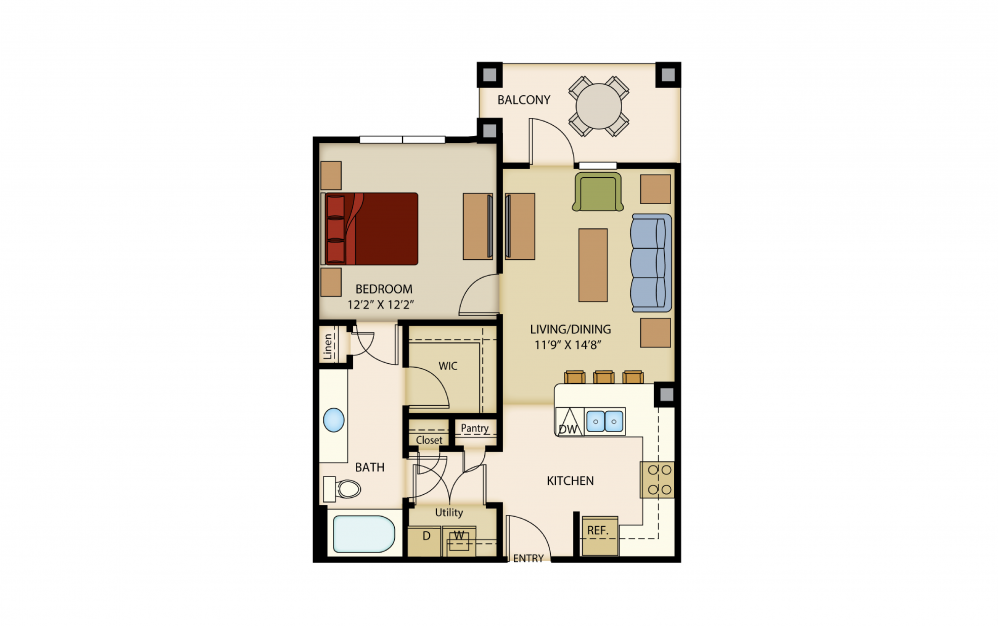 A3 - 1 bedroom floorplan layout with 1 bath and 709 square feet.