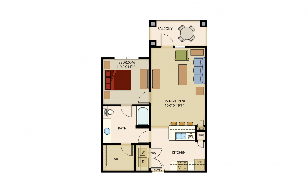 A4 - 1 bedroom floorplan layout with 1 bath and 771 to 776 square feet.