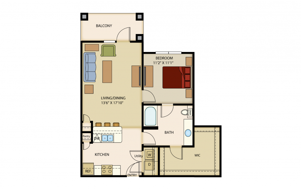 A5a - 1 bedroom floorplan layout with 1 bath and 839 square feet.