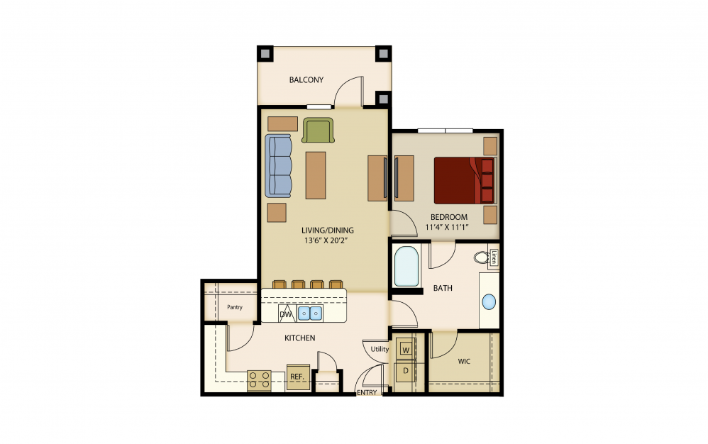 A5b - 1 bedroom floorplan layout with 1 bath and 850 square feet.