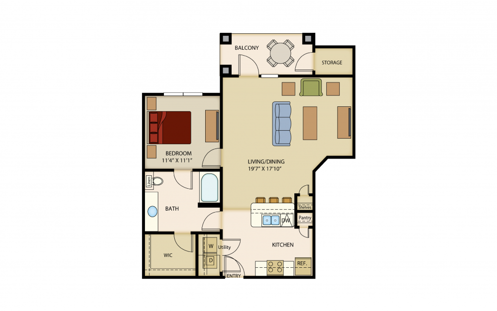 A6 - 1 bedroom floorplan layout with 1 bath and 855 to 856 square feet.