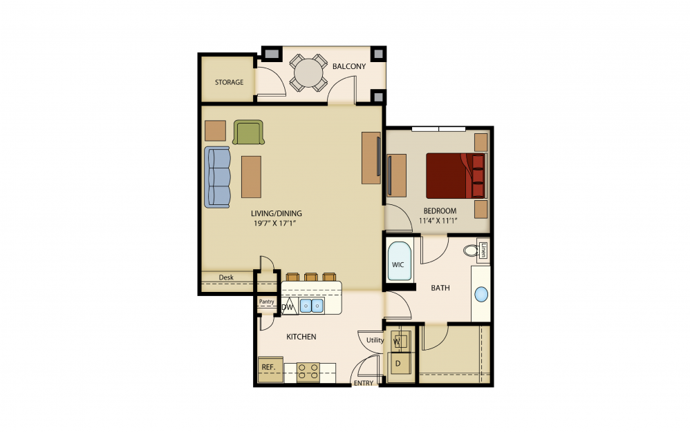 A7 - 1 bedroom floorplan layout with 1 bath and 907 square feet.