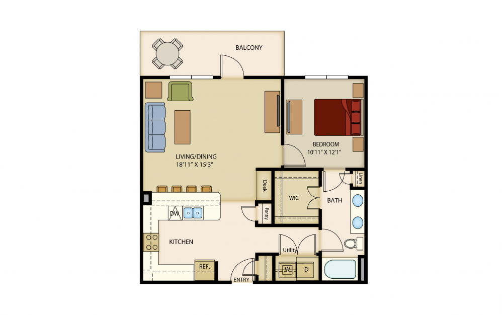 A8 - 1 bedroom floorplan layout with 1 bath and 867 square feet.