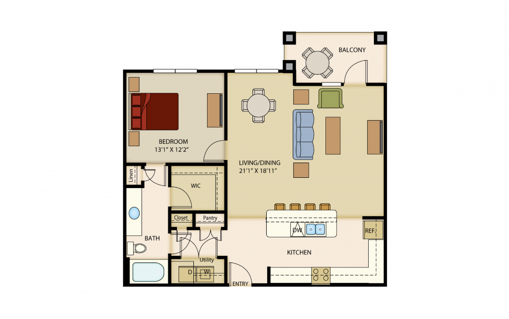 A9 - 1 bedroom floorplan layout with 1 bath and 1013 square feet.