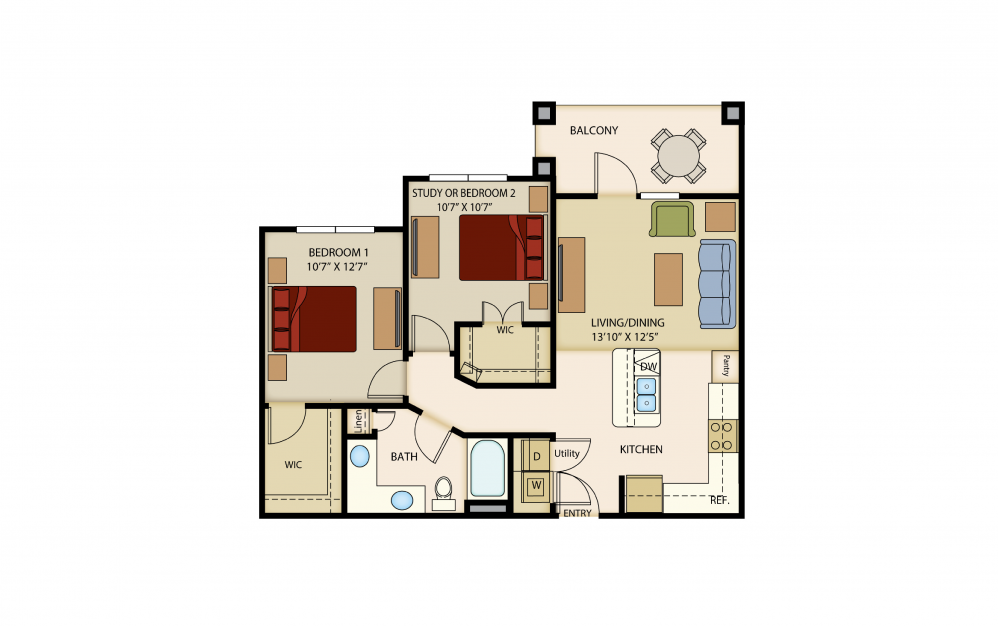 B1 - 2 bedroom floorplan layout with 1 bath and 880 to 954 square feet.