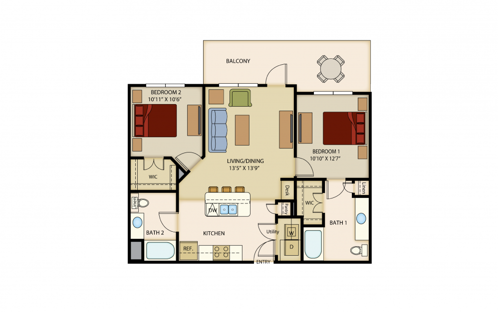 B2 - 2 bedroom floorplan layout with 2 baths and 982 to 1062 square feet.