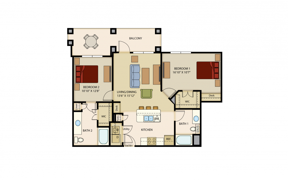 B3 - 2 bedroom floorplan layout with 2 baths and 1068 square feet.