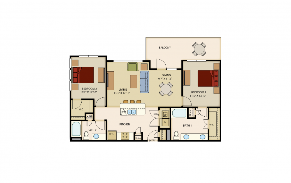 B4 - 2 bedroom floorplan layout with 2 baths and 1149 square feet.