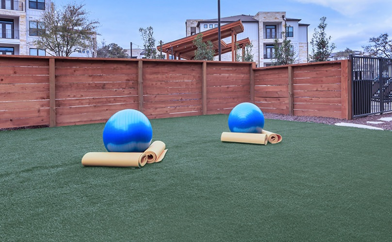 Outdoor workout area with turf
