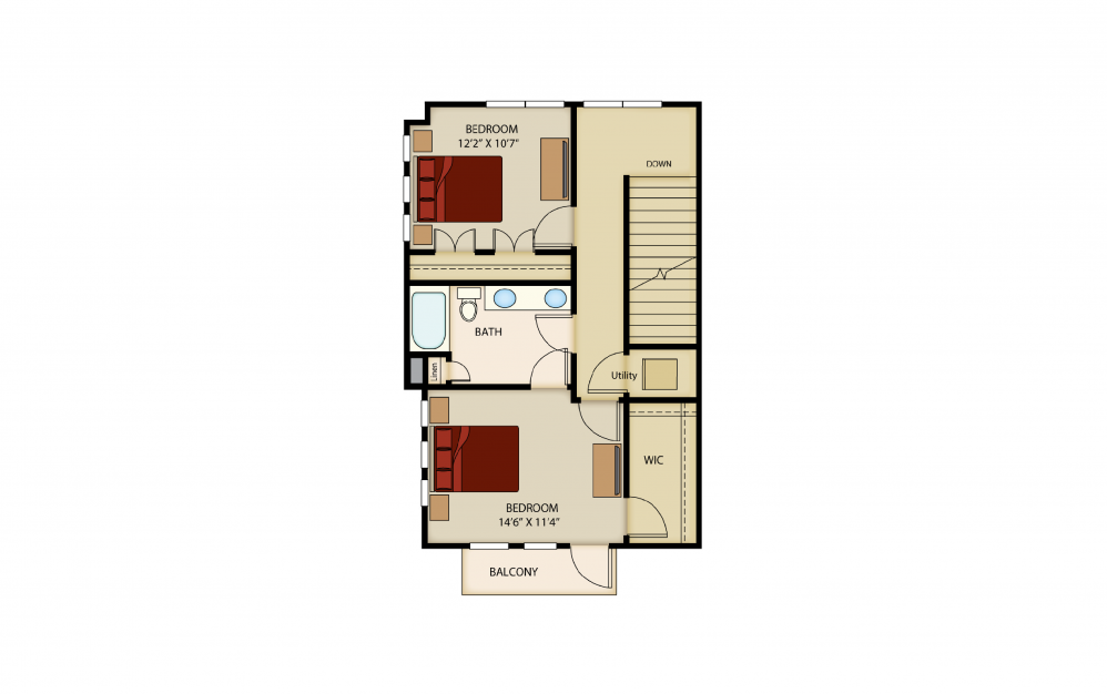 B6 - 2 bedroom floorplan layout with 1.5 bath and 1463 square feet. (Floor 3)