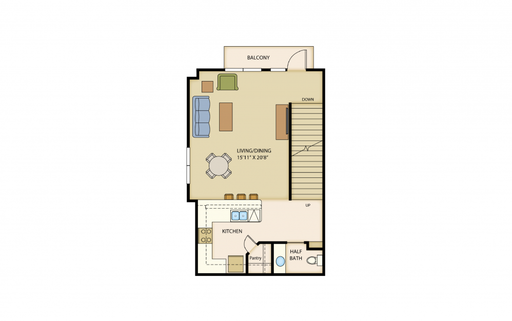B6a - 2 bedroom floorplan layout with 1.5 bath and 1445 square feet. (Floor 2)