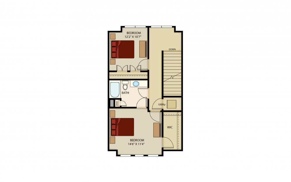B6a - 2 bedroom floorplan layout with 1.5 bath and 1445 square feet. (Floor 3)