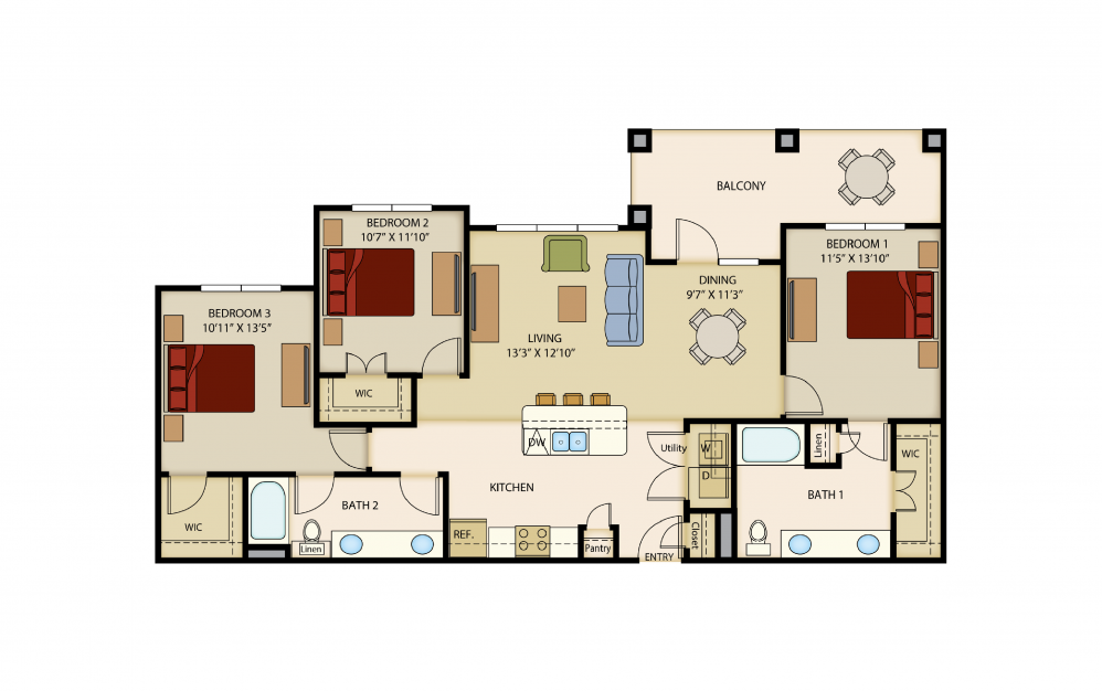 C1 - 3 bedroom floorplan layout with 2 baths and 1380 to 1430 square feet.